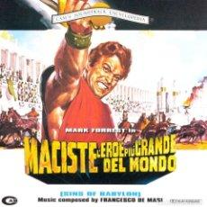 CDs de Música: MACISTE, L´EROE PIÙ GRANDE DEL MONDO / FRANCESCO DE MASI CD BSO. Lote 154732502