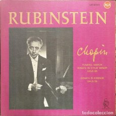 CDs de Música: RUBINSTEIN, CHOPIN – 'FUNERAL MARCH' SONATA IN B-FLAT MINOR OPUS 35 / SONATA IN B- (ITALIA, 1961). Lote 156346614