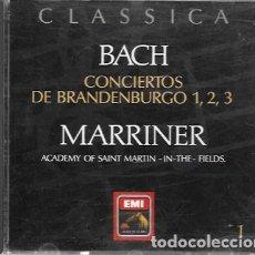 CDs de Música: CLASSICA. BACH: CONCIERTOS DE BRANDENBURGO 1, 2 Y 3. MARRINER, ACADEMY OF SAINT MARTIN IN THE FIELDS. Lote 159530082