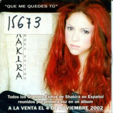 CDs de Música: SHAKIRA / QUE ME QUEDES TU (CD SINGLE CARTON PROMO 2002). Lote 160440374