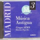 CDs de Música: CD. MUSICA ANTIGUA. POR LAS SIERRAS DE MADRID. GRUPO SEMA. DIR. PEPE REY. KIRIOS. Lote 160921506