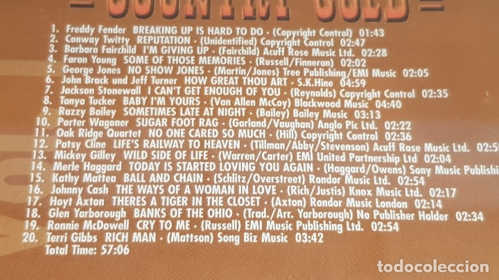 CDs de Música: COUNTRY GOLD / VOL. 20 / VARIOS ARTISTAS / DOBLE CD - NASHVILLE / 40 TEMAS / LUJO. - Foto 4 - 162930590