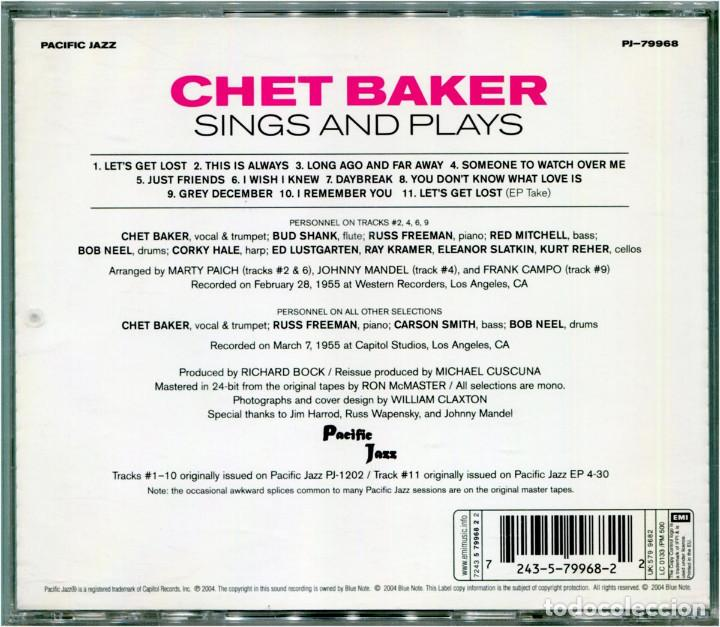 CDs de Música: Chet Baker – Sings And Plays - CD Europe 2004 (Re) - Pacific Jazz PJ-79968 - Foto 2 - 163804450
