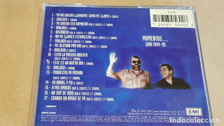 CDs de Música: LO CORTEZ NO QUITA LO CABRAL / MOMENTOS - GIRA 1994-95 / CD - EMI / 17 TEMAS / LEVES MARCAS - Foto 3 - 164237266