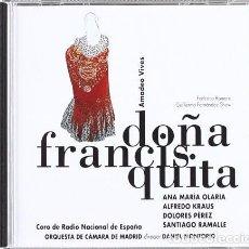 CDs de Música: DOÑA FRANCISQUITA - AMADEO VIVES / DANIEL MONTORIO - CD. Lote 164693654