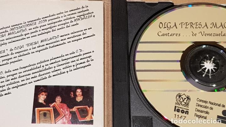 CDs de Música: OLGA TERESA MACHADO / CANTARES DE VENEZUELA Y ALGO MÁS. / CD - LEON / 22 TEMAS / BUENA CALIDAD. - Foto 2 - 165137590