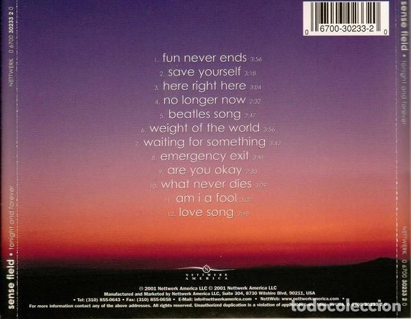 CDs de Música: SENSE FIELD - TONIGHT AND FOREVER - Foto 2 - 167975592
