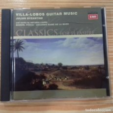 CDs de Música: VILLA-LOBOS GUITAR MUSIC FIVE PRELUDES ETC JULIAN BYZANTINE. Lote 168373372