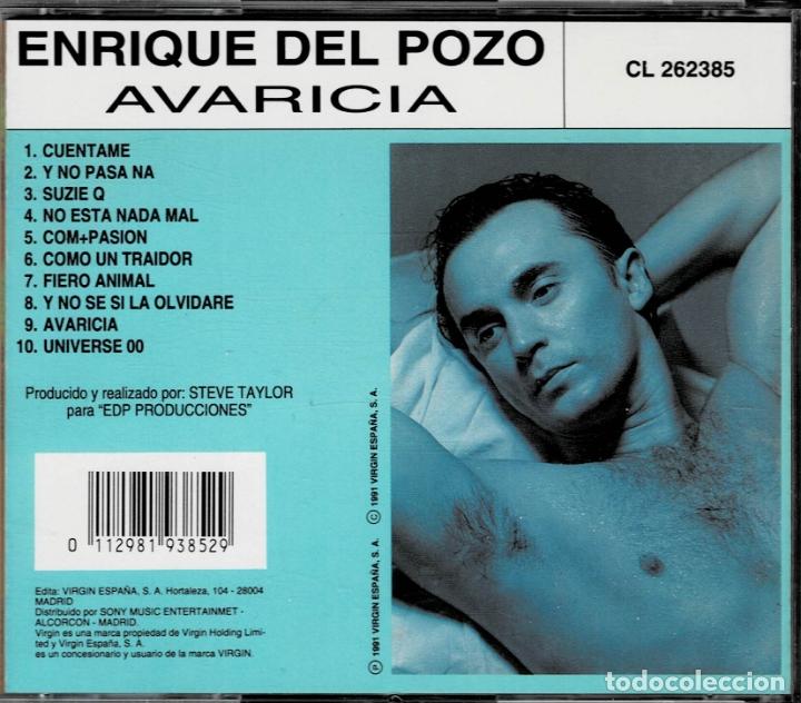 CDs de Música: ENRIQUE DEL POZO - AVARICIA / CD ALBUM DE 1991 RF-2219 , PERFECTO ESTADO - Foto 2 - 168863540
