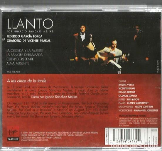 CDs de Música: CD LLANTO POR IGNACIO SANCHEZ MEJIAS ( FEDERICO GARCIA LORCA ) ORATORIO DE VICENTE PRADAL - Foto 2 - 169834116