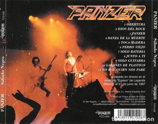 CDs de Música: PANZER - SABADO NEGRO - Foto 2 - 171057689