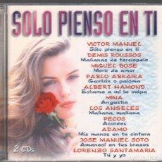 CDs de Música: SOLO PIENSO EN TI - VICTOR MANUEL, MIGUEL BOSE, PECOS, MINA, ADAMO, JUAN BAU... DOBLE CD DE 1997. Lote 171578749