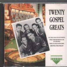 CDs de Música: TWENTY GOSPEL GREATS / CD DE 1992 RF-2438 , BUEN ESTADO. Lote 172057469