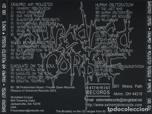 CDs de Música: SHREDDED CORPSE - EXHUMED AND MOLESTED REISSUE + DEMOS - Foto 2 - 172083815
