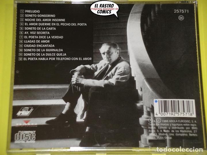 CDs de Música: Amancio prada, Sonetos del amor oscuro, cantautor, CD año 1988, poemas de Federico García Lorca - Foto 2 - 172249822