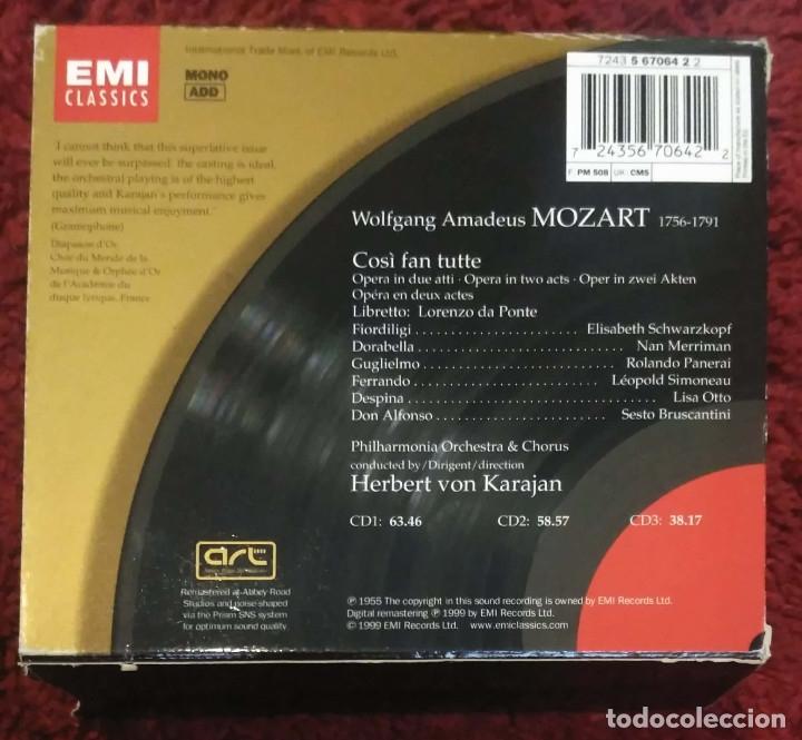 CDs de Música: MOZART (Così Fan Tutte) HERBERT VON KARAJAN - PHILHARMONIA ORCHESTRA & CHORUS - 3 CDs 1999 - Foto 2 - 172251719