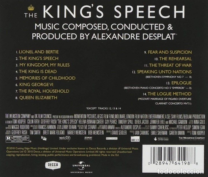 CDs de Música: THE KING´S SPEECH / Alexandre Desplat CD BSO - Foto 2 - 172428797