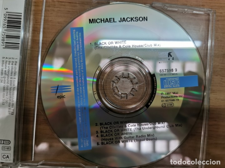 CDs de Música: MICHAEL JACKSON / BLACK OR WHITE (5 VERSIONES) CD SINGLE CAJA 1991) - Foto 3 - 50824498