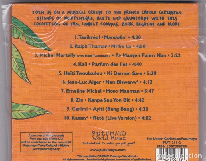 CDs de Música: Putumayo Presents: French Caribbean - CD Digipack - Foto 2 - 172896510