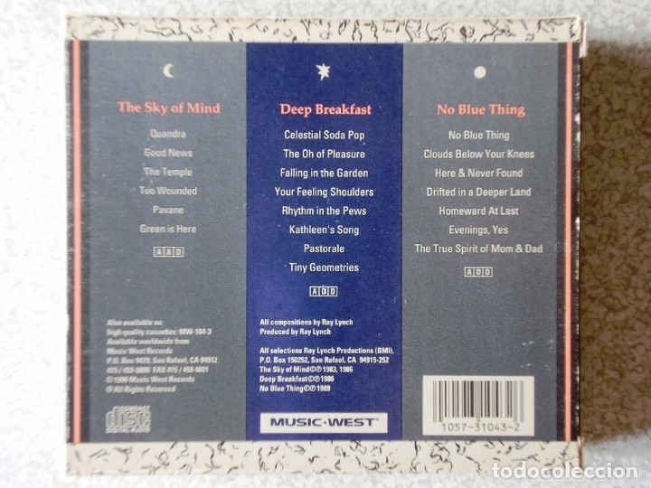 CDs de Música: RAY LYNCH.THE MUSIC OF RAY LYNCH.THE SKY OF MIND-DEEP BREAKFAST-NO BLUE THING...DIFICIL BOX 3 CD´S - Foto 2 - 174233824