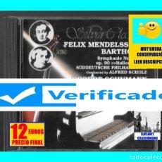 CDs de Música: SILVER CLASSICS - FELIX MENDELSSOHN - BARTHOLDY SINFONÍA 4 - ROBERT SCHUMANN SINFONÍA 3 - VERIFICADO. Lote 174997744