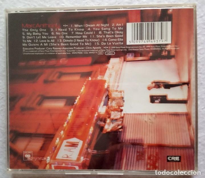 CDs de Música: MARC ANTHONY - CD 1999 - COLUMBIA - Foto 3 - 175320052