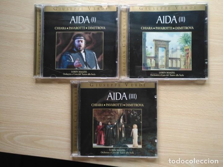 3 CD AIDA - GIUSEPPE VERDI - CHIARA PAVAROTTI DIMITROVA- ED. CENTENARIO (Música - CD's Clásica, Ópera, Zarzuela y Marchas)