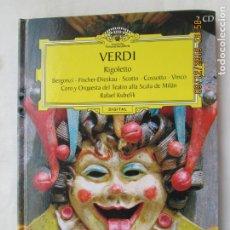 CDs de Música: VERDI , RIGOLETTO , GRANDES OPERAS 2 CD Y LIBRO REPARTO Y OBRA DEUTSCHE GRAMMOPHON . Lote 176558074