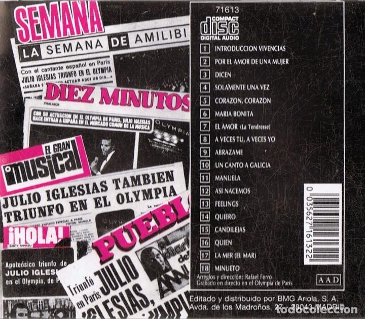 CDs de Música: JULIO IGLESIAS ¨EN EL OLYMPIA¨ (CD) - Foto 2 - 176721364
