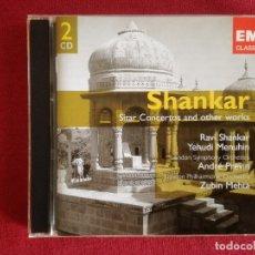 CDs de Música: RAVI SHANKAR - SITAR CONCERTOS AND OTHER WORKS - 2 X CD - YEHUDI MENUHIN JEAN PIERRE RAMPAL PREVIN. Lote 176768418