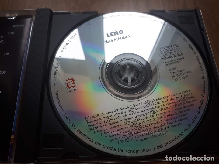 CDs de Música: Leño - Más madera - CD - Zafiro - 1991 - Foto 3 - 147550250
