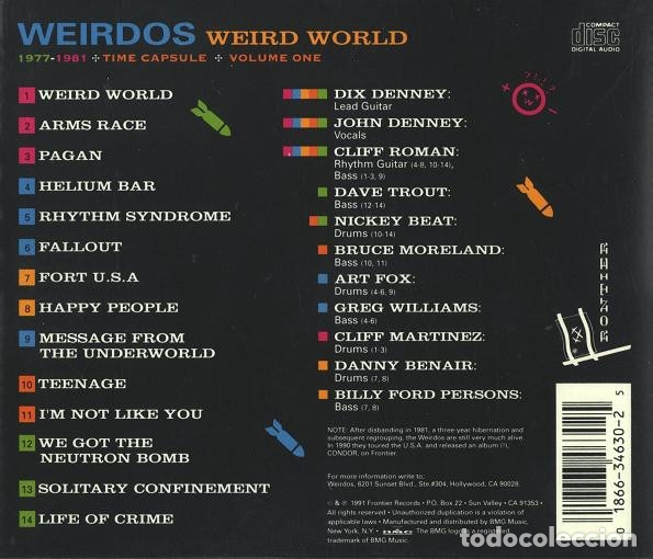 CDs de Música: THE WEIRDOS - WEIRD WORLD - VOLUME ONE 1977-1981 - Foto 2 - 178350698