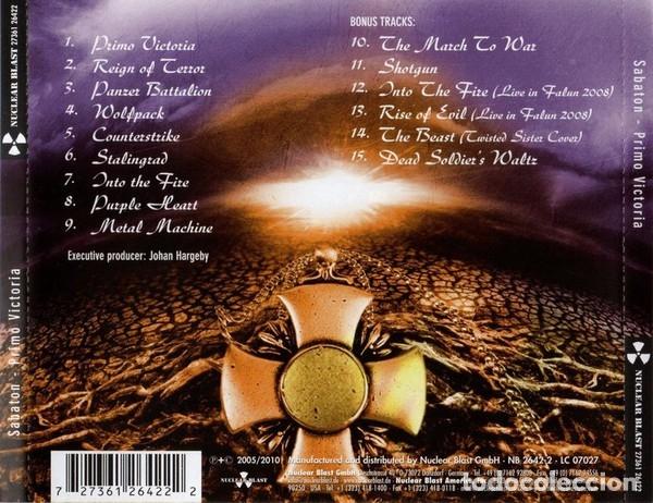 CDs de Música: SABATON - PRIMO VICTORIA RE-ARMED - 2011 NUCLEAR BLAST RECORDS REISSUE - Foto 2 - 178817163