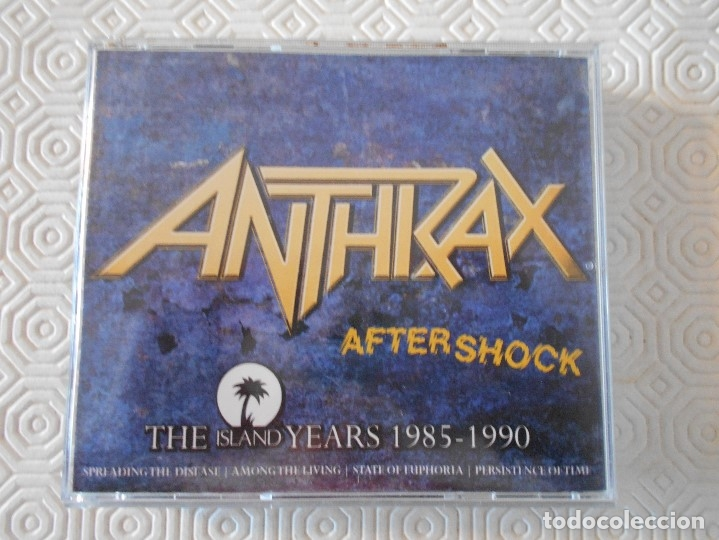 ANTHRAX. AFTERSHOCK. THE ISLAND YEARS 1985 - 1990. CAJA CON 4 COMPACTOS. (Música - CD's Heavy Metal)