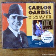 CDs de Música: CARLOS GARDEL - 38 MASTERPIECES - 1996 - RECOPILACIÓN - DOBLE CD, TANGO, ARGENTINA - LIBRETO 36 PAG.. Lote 178969515