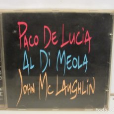 CDs de Música: PACO DE LUCIA / AL DI MEOLA / JOHN MCLAUGHLIN - THE GUITAR TRIO - CD - FRANCE - 1996 - EX+/EX+. Lote 178988006