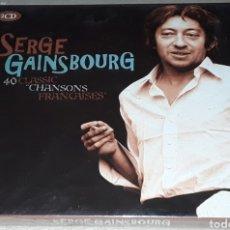 CDs de Música: 2 CD - SERGE GAINSBOURG - 40 CLASSIC CHANSONS FRANCAISES - NUEVO Y PRECINTADO. Lote 178998007