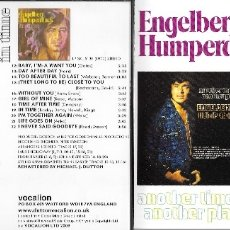 CDs de Música: ENGELBERT HUMPERDINCK - ANTOHER TIME, ANOTHER PLACE / IN TIME. Lote 179207631