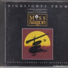 CDs de Música: HIGHLIGHTS FROM MISS SAIGON CD BANDA SONORA DE LA PELÍCULA 1990 USA. Lote 180089521