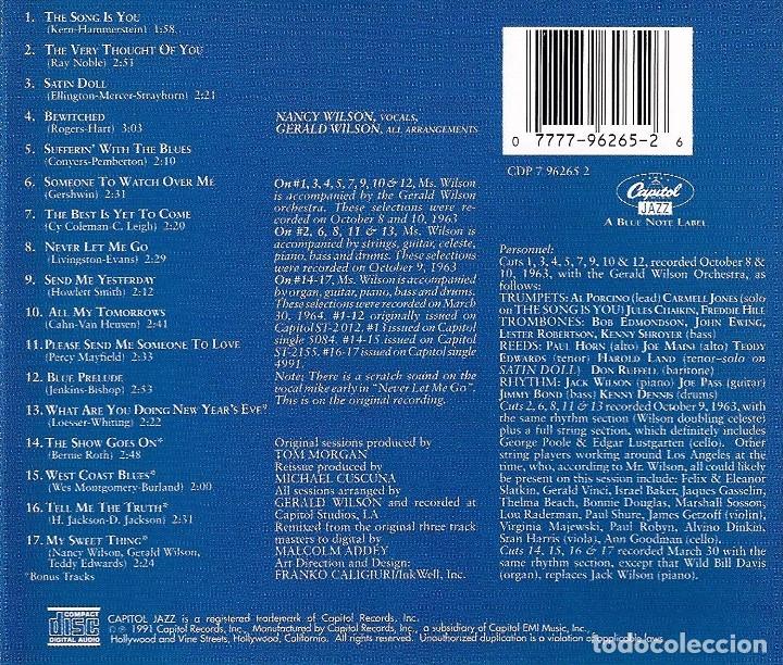 CDs de Música: NANCY WILSON - YESTERDAY'S LOVE SONGS * TODAY'S BLUES - Foto 2 - 180143621