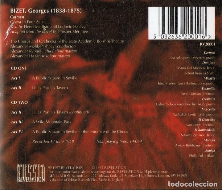 CDs de Música: BIZET CARMEN THE OPERA (CD) - Foto 2 - 180252515