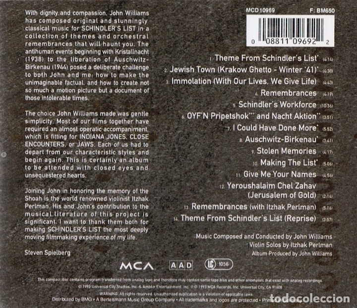 CDs de Música: SCHINDLER´S LIST MUSIC FROM THE ORIGINAL MOTION PICTURE SOUND TRACK - Foto 2 - 180258248
