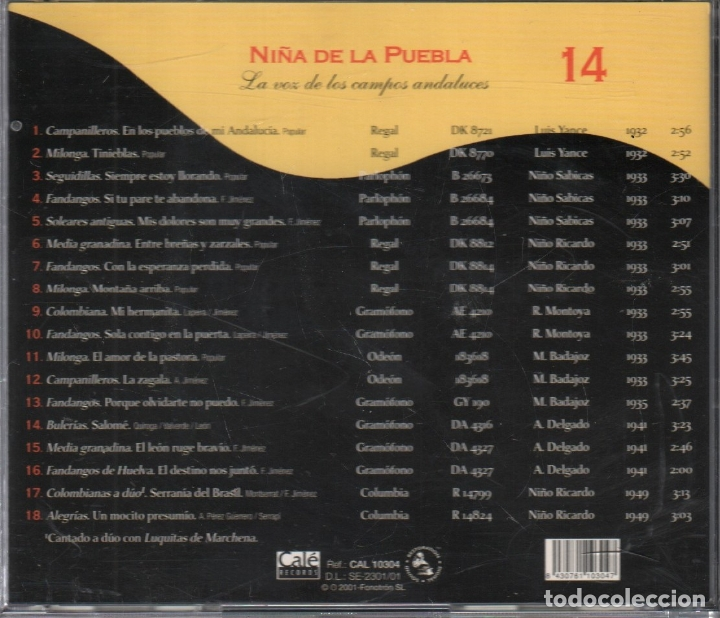 CDs de Música: GRANDES CLASICOS DEL CANTE FLAMENCO Nº 14 NIÑA DE LA PUEBLA / CD DE 2001 RF-3147 , PERFECTO ESTADO - Foto 2 - 180319887