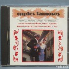 CDs de Música: CD. FEDERICO MORENO TORROBA Y SU ORQUESTA. CUPLÉS FAMOSOS. Lote 180412750