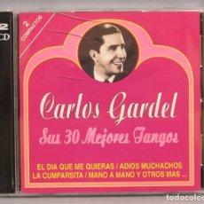 CDs de Música: 2 CD. CARLOS GARDEL. SUS 30 MEJORES TANGOS. Lote 181941948