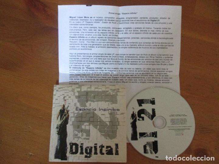CDs de Música: DIGITAL 21 ESPACIO INFINITO CD SINGLE FUNDA CARTÓN 4 CANCIONES + VIDEOCLIP CON NOTA DE PRENSA 2005 - Foto 3 - 181957717