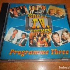 CDs de Música: GREAT T.V. THEMES PROGRAMME THREE CD ALBUM DINASTY DALLAS MIAMI VICE MOONLIGHTING CONTIENE 12 TEMAS . Lote 183323955