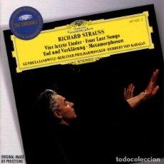 CDs de Música: STRAUSS / KARAJAN - VIER LETZTE LIEDER · FOUR LAST SONGS / TOD UND VERKLÄRUNG · METAMORPHOSEN - CD . Lote 183795023