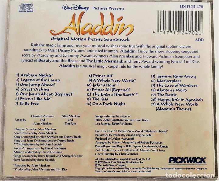 CDs de Música: CD ALADDIN (BSO), Alan Menken, Howard Ashman, Tim Rice, UK 1992,Pickwick Records–DSTCD 470 (EX_EX) - Foto 2 - 183815160