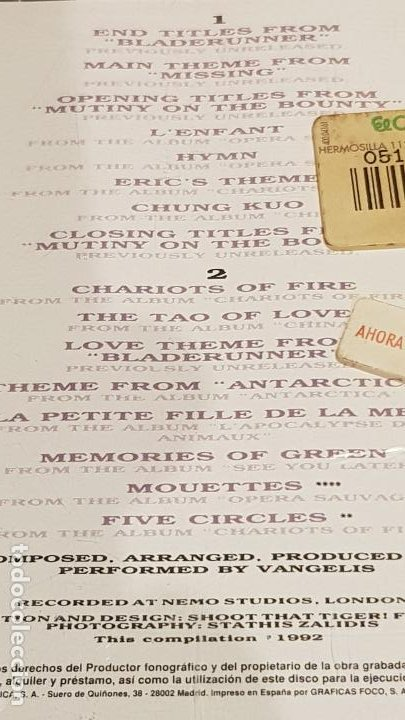CDs de Música: THE BEST OF VANGELIS / DOBLE CD-BOX - POLYDOR / 16 TEMAS / CALIDAD LUJO. - Foto 5 - 184556235